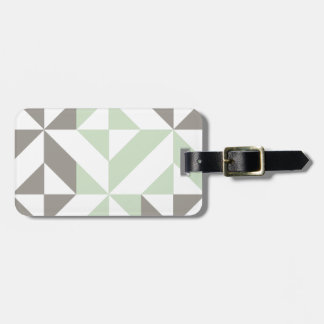 Sage Green and Silver Geometric Deco Cube Pattern Bag Tag