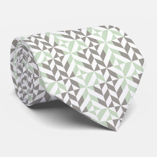 Sage Green and Silver Geometric Deco Cube Pattern Neck Tie