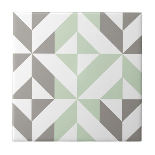 Sage Green and Silver Geometric Deco Cube Pattern Ceramic Tile
