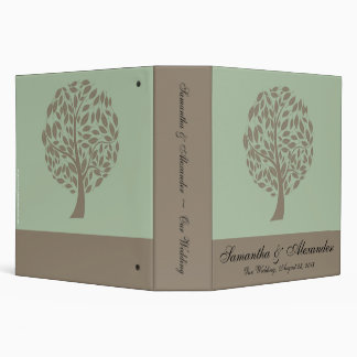 Sage Green and Soft Brown Stylized Eco Tree Vinyl Binders