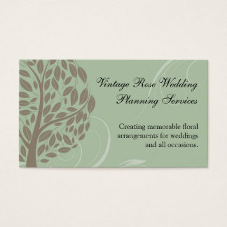 Sage Green and Soft Brown Stylized Eco Tree Business Card