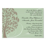 Sage Green and Soft Brown Stylized Eco Tree Personalized Invitations