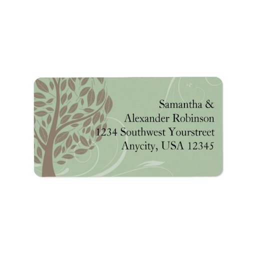 Sage Green and Soft Brown Stylized Eco Tree Custom Address Labels