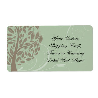 Sage Green and Soft Brown Stylized Eco Tree Label