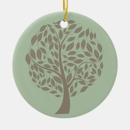 Sage Green and Soft Brown Stylized Eco Tree Double-Sided Ceramic Round Christmas Ornament