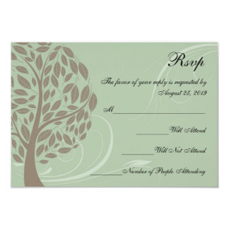 Sage Green and Soft Brown Stylized Eco Tree RSVP Card