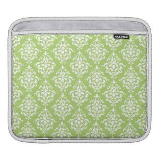 Sage Green and White Damask Pattern iPad Sleeve