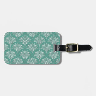 Sage Green and White Damask Pattern Luggage Tags
