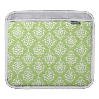 Sage Green and White Damask Pattern Sleeve For iPads