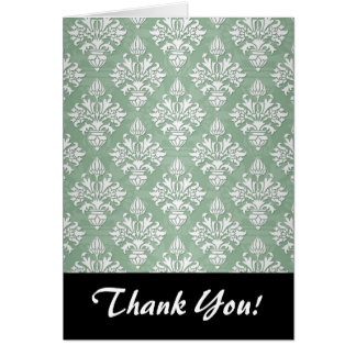 Sage Green and White Floral Damask Card