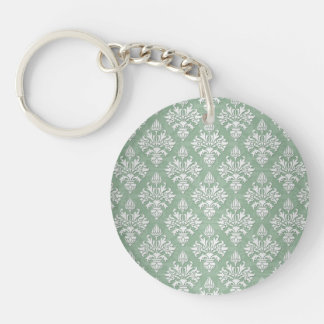 Sage Green and White Floral Damask Keychain