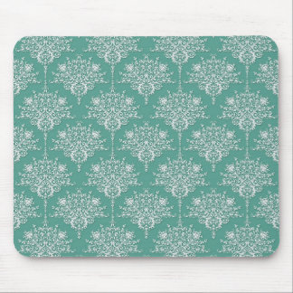 Sage Green and White Floral Damask Mouse Pad