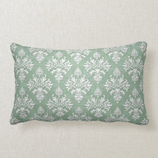 Sage Green and White Floral Damask Pillow