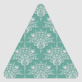 Sage Green and White Floral Damask Triangle Sticker