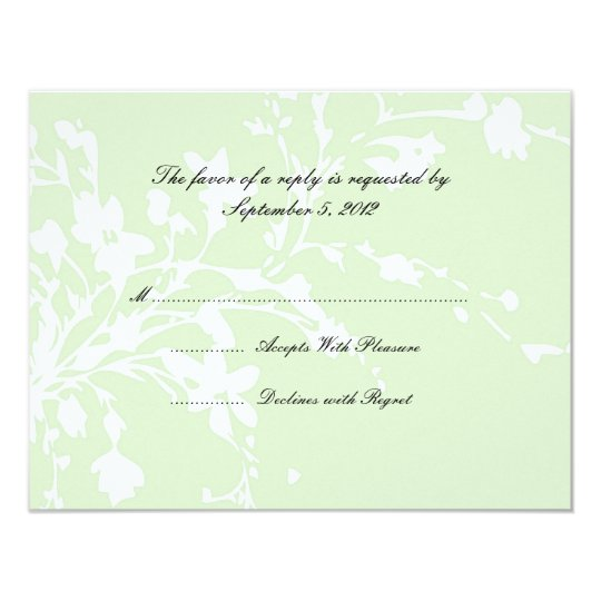 Sage Green and White Flowers Wedding RSVP Card