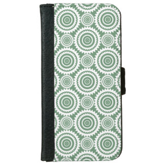 Sage Green and White Geometric Circles Pattern iPhone 6 Wallet Case