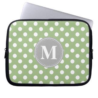 Sage Green and White Polka Dots Grey Monogram Computer Sleeve