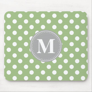 Sage Green and White Polka Dots Grey Monogram Mouse Pad