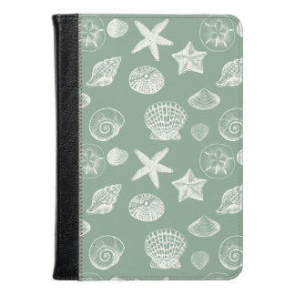 Sage Green and White Shells Kindle Case