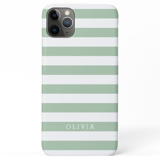 Sage Green and White Stripes Monogrammed iPhone 11 Pro Max Case