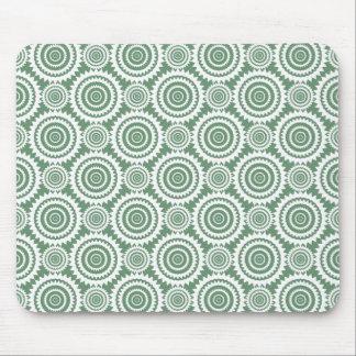 Sage Green and White Stylish Circles Pattern Mouse Pad
