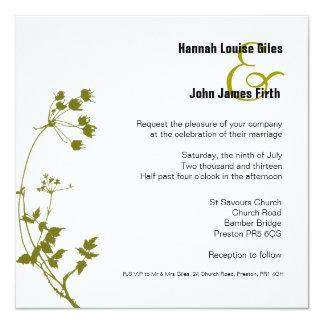 sage green and white wedding invitation