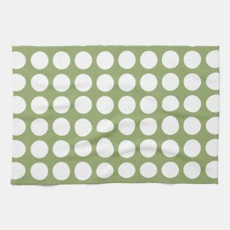 Sage Green & Big White Polka Dots Kitchen Towels