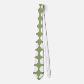 Sage Green & Big White Polka Dots Tie