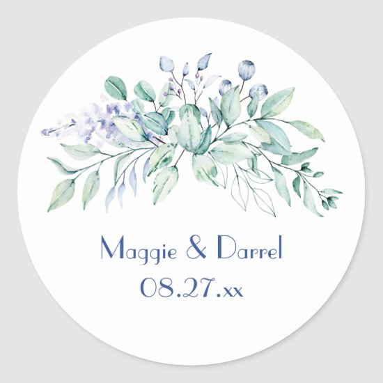 Sage Green & Blue Greenery Wedding Monogram Classic Round Sticker