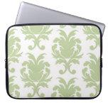 sage green bold large damask pattern laptop computer sleeves