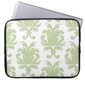 sage green bold large damask pattern laptop sleeve