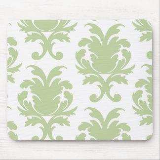 sage green bold large damask pattern mouse pad