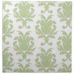 sage green bold large damask pattern napkins