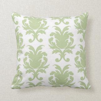 sage green bold large damask pattern throw pillow