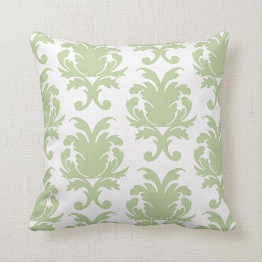 Large Throw Pillow Patterns : sage green bold large damask pattern throw pillow Zazzle