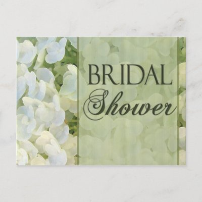 Bridal Shower on White Hydrangea With Sage Green Pin Stripe Accent And Bridal Shower In