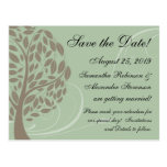 Sage Green, Brown Stylized Eco Tree Save the Date Post Cards
