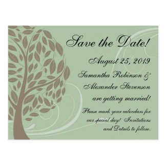 Sage Green, Brown Stylized Eco Tree Save the Date Postcard