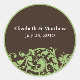 Sage Green & Brown Swirl Wedding Favor Label Classic Round Sticker