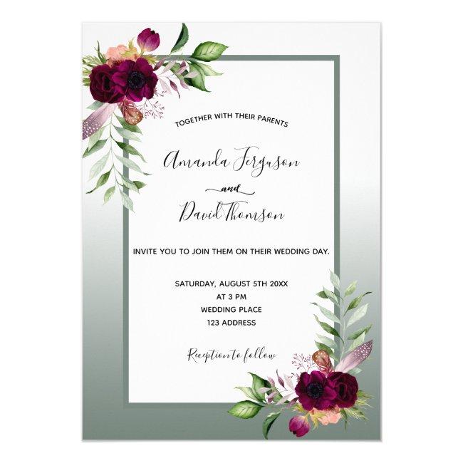 Sage green burgundy watercolored florals wedding invitation