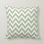 Sage Green Chevron Zigzag Pattern Throw Pillow