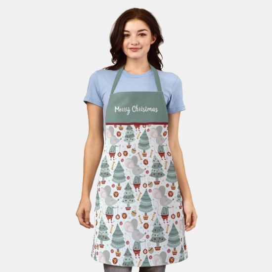 Sage Green Christmas Tree Mouse Gifts Apron