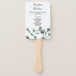 Sage Green Clematis Watercolor Floral Wedding Hand Fan