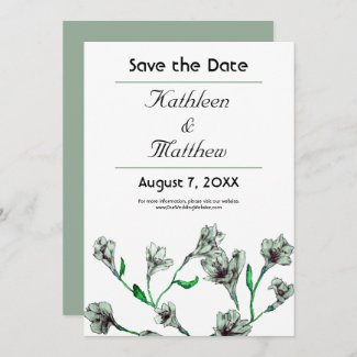 Sage Green Clematis Watercolor Floral Wedding Save The Date