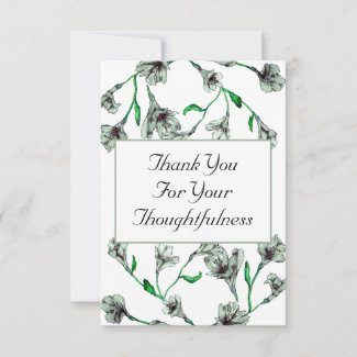 Sage Green Clematis Watercolor Floral Wedding Thank You Card