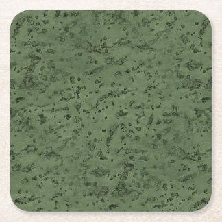 Sage Green Cork Look Wood Grain Square Paper Coaster