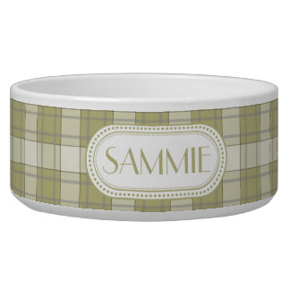 Sage Green Country Plaid Pattern Monogram Bowl