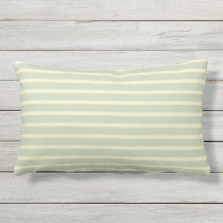 Sage Green & Cream Stripe Outdoor Lumbar Pillow