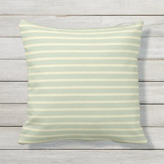 Sage Green & Cream Stripe Outdoor Pillow 16x16