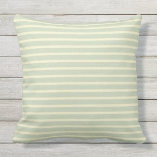 Sage Green & Cream Stripe Outdoor Pillow 20x20